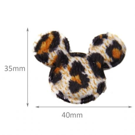10 x 1.5 INCH LEOPARD MINNIE MICKEY MOUSE HEAD APPLIQUE EMBELLISHMENT HEADBANDS HAIR BOWS